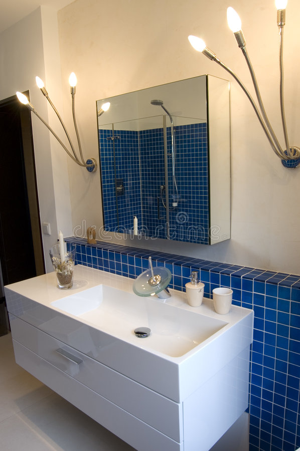 Download Blue Designer Bathroom stock image. Image of hygiene, lights - 5089523