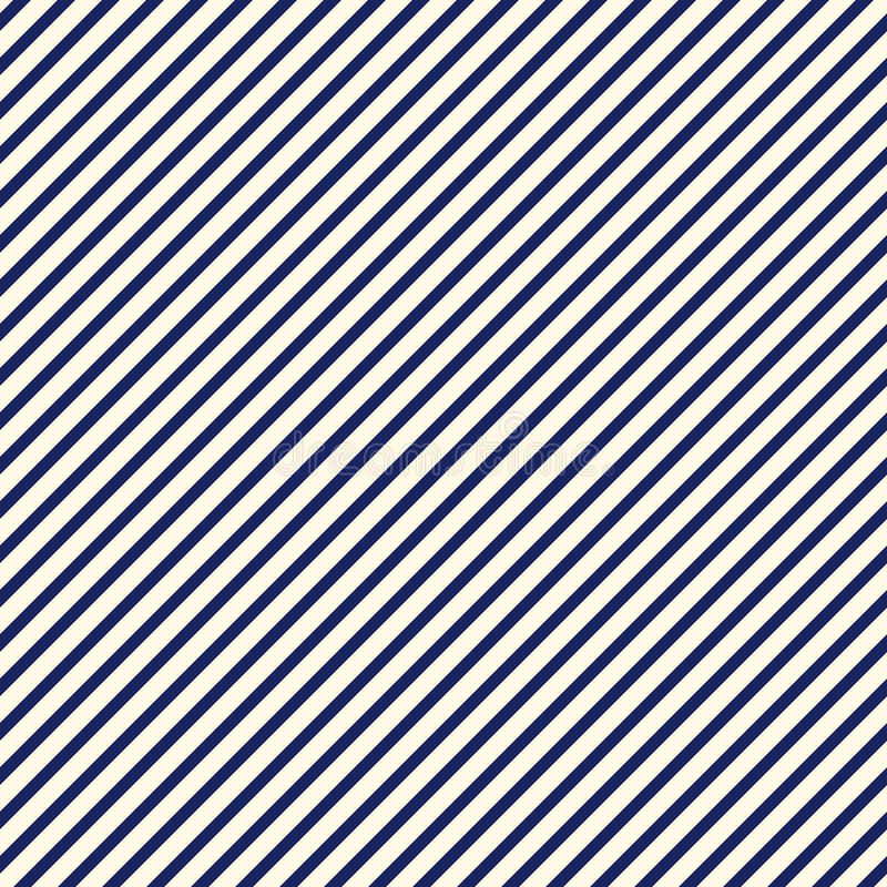 Blue diagonal stripes abstract background. Thin slanting line wallpaper. Seamless pattern with simple classic motif. stock illustration