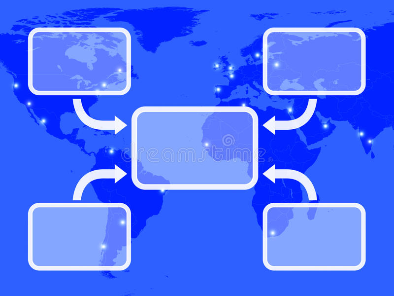 Blue Diagram With Four Arrows. Shows Process Or Illustration Over A Map royalty free illustration