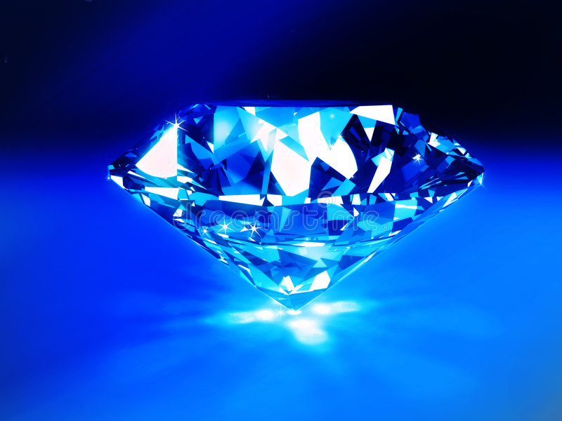 Blue Diamond. 3d image of a blue diamond with caustics