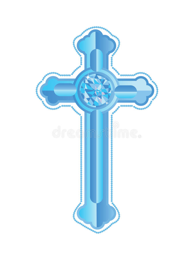 Blue Diamond Cross. With bordered diamond stock illustration