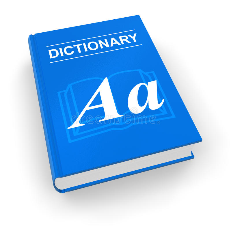 Blue dictionary. Isolated over white stock illustration