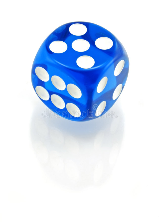 Free Blue Die On White - 5 On Top Stock Photo - 676460