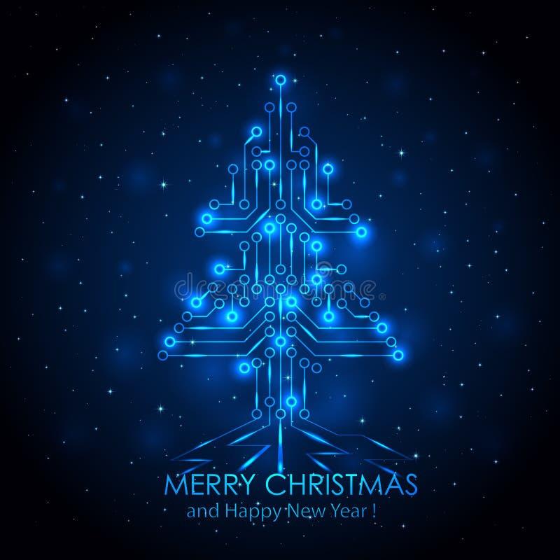 Blue digital Christmas tree vector illustration