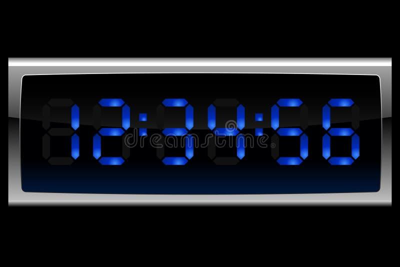 Blue digital clock vector illustration