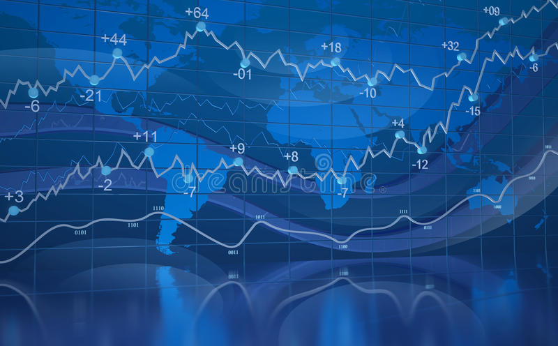 Blue Digital World Business Abstract With Graph stock illustration