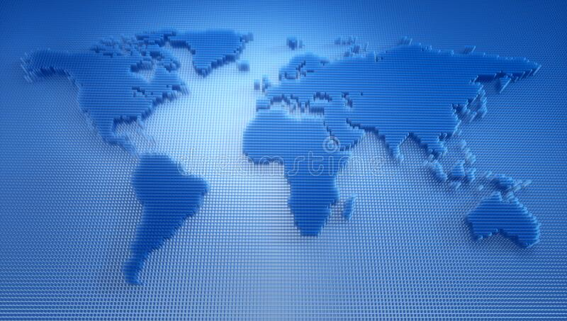 Blue Digital World Map - 3D Illustration stock illustration