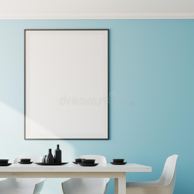 Blue dining room interior, poster close up. Close up of a blue dining room interior with a white wooden table and chairs and a framed poster on the wall. 3d stock illustration