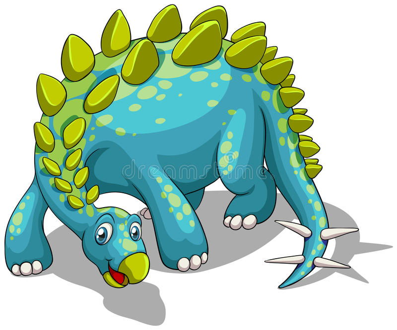 Blue dinosaur with spikes tail. Illustration royalty free illustration