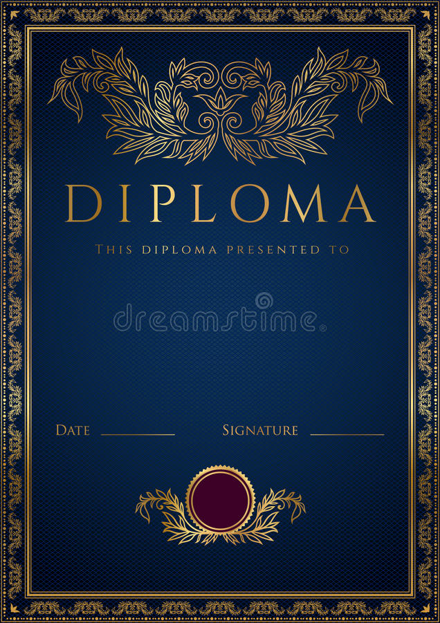 Blue Diploma / Certificate background with border. Vertical dark blue diploma of completion (template) with guilloche pattern (watermarks) and golden floral