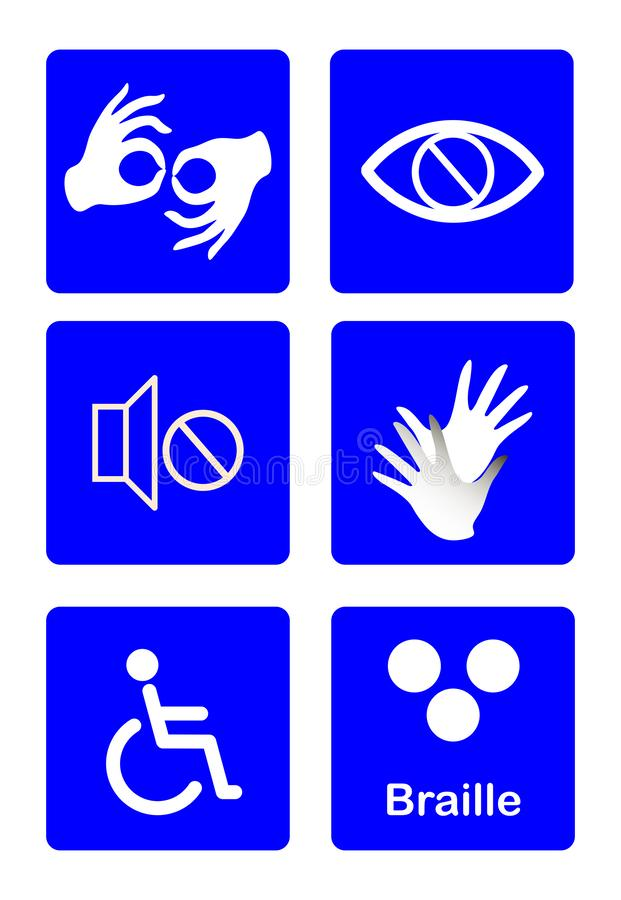 Blue disability symbols and signs collection, may be used to publicize accessibility of places, and other activities for royalty free illustration