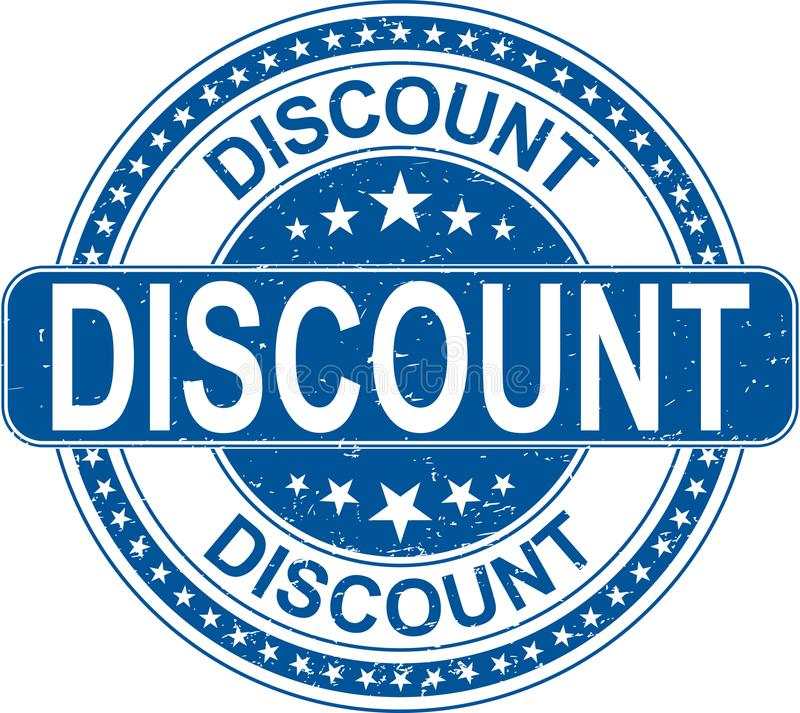 Blue discount rubber stamp internet sign on white background vector illustration