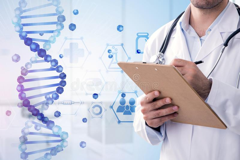 Blue dna helix and man doctor writing. Unrecognizable young man doctor wtriting in chart. Blue dna helix and medical icons over hospital background. Biotech royalty free stock images