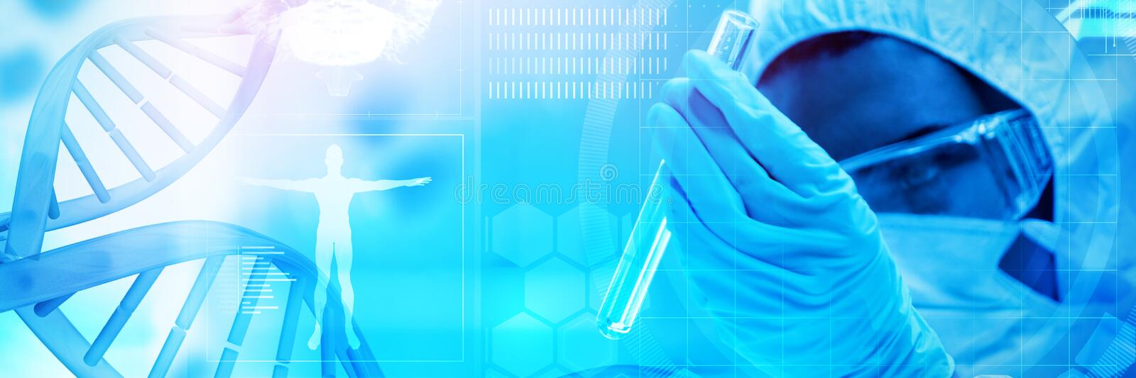 Composite image of blue dna helix with medical background. Blue dna helix with medical background against protected scientist looking at a dangerous liquid in stock photography