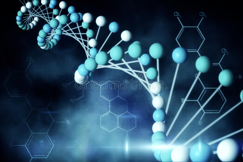 Download Blue DNA Strand With Chemical Structures Stock Illustration - Image: 39434052