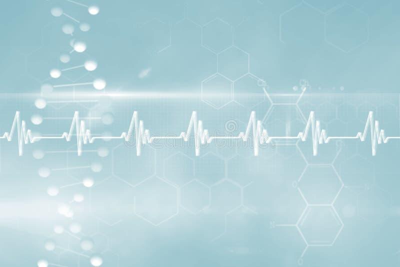 Blue DNA strand with ECG line 3d vector illustration