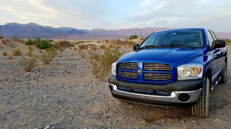 Blue Dodge Ram pickup royalty free stock photos