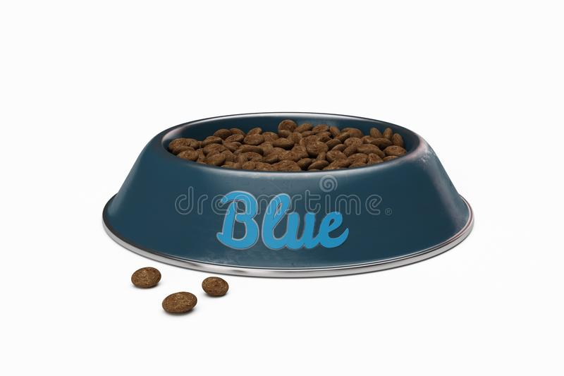 Doggy bowl with name BLUE of dog isolated on white stock photos
