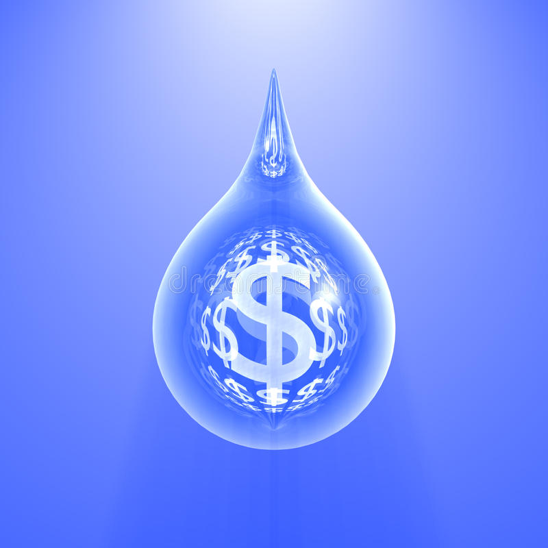 The blue dollar drop stock images