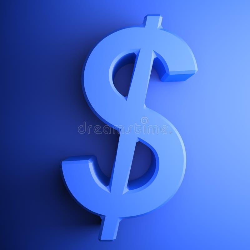 Blue Dollar square icon - 3D rendering illustration vector illustration