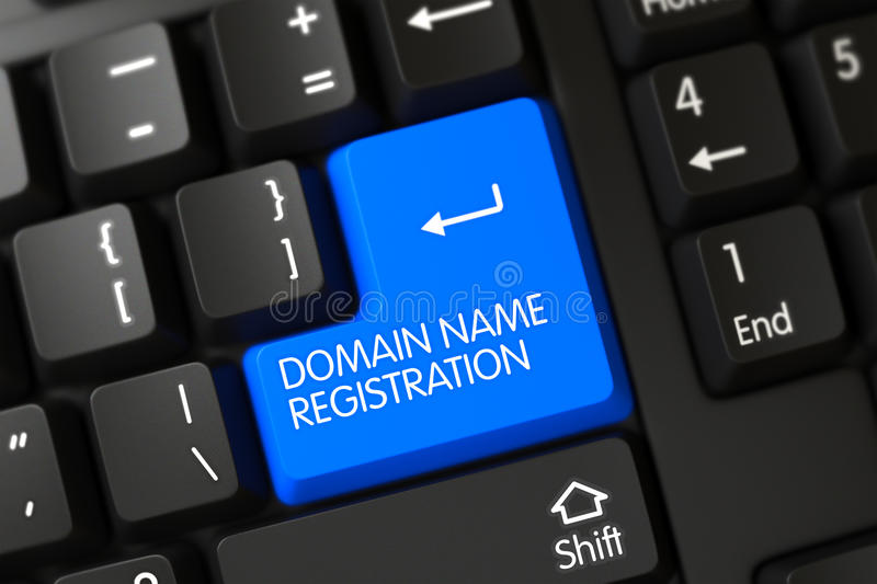 Blue Domain Name Registration Button on Keyboard. 3D. royalty free stock image