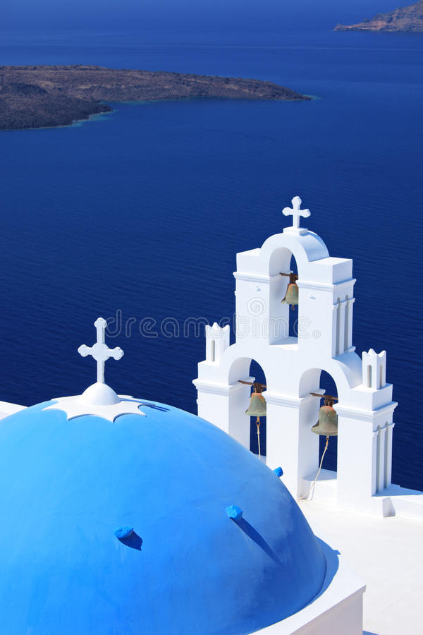 Blue dome Church St. Spirou in Firostefani royalty free stock images