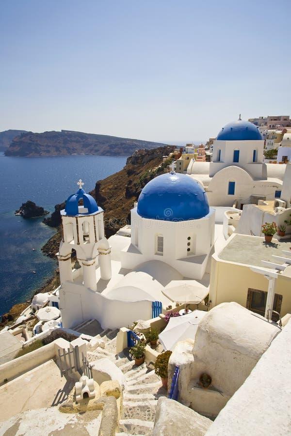 Blue Domed Churches, Oia, Santorini, Greece stock images