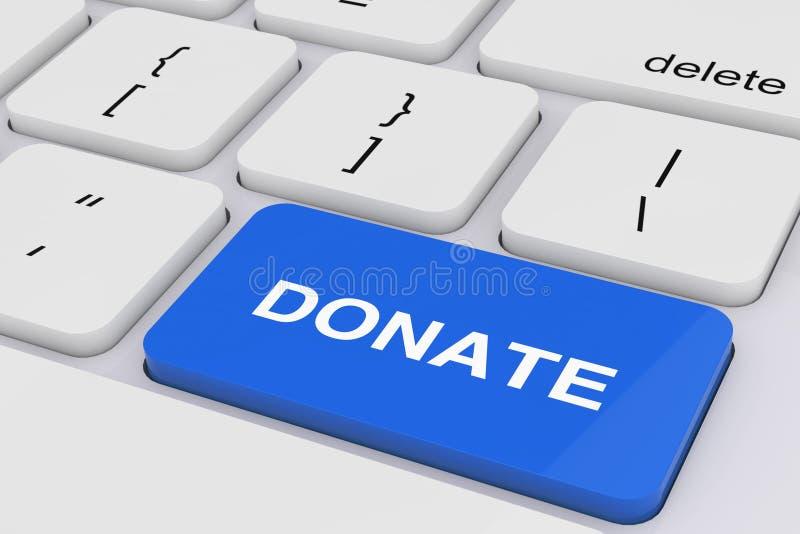 Blue Donate Key on White PC Keyboard. 3d Rendering stock illustration
