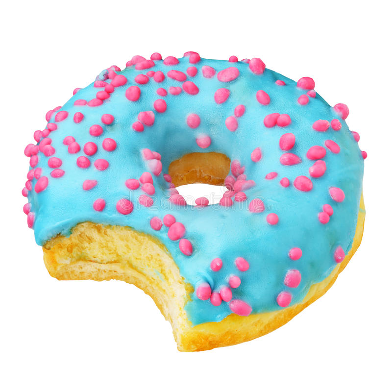 Blue donut isolated royalty free stock photography