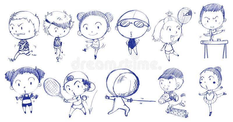 Blue doodle design of people playing with the different sports stock illustration