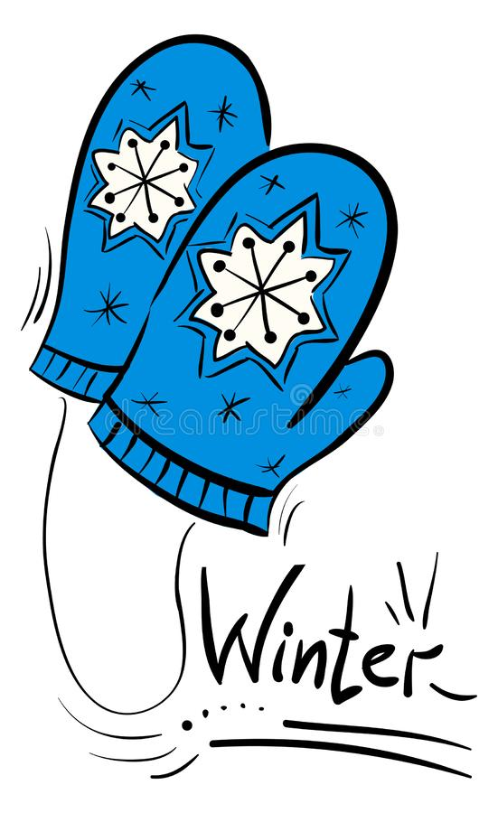 Blue doodle winter mittens with snowflakes. Illustration royalty free illustration