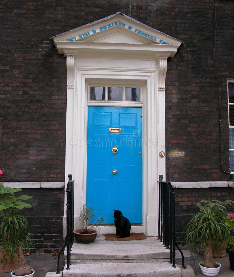 Download Blue Door stock image. Image of dark, wall, white, porch - 68913