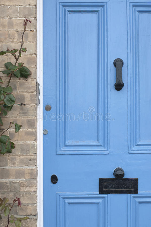 Blue door English Victorian house stock photo
