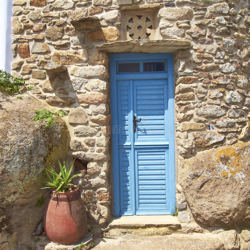 Blue door and flowerpot royalty free stock photography