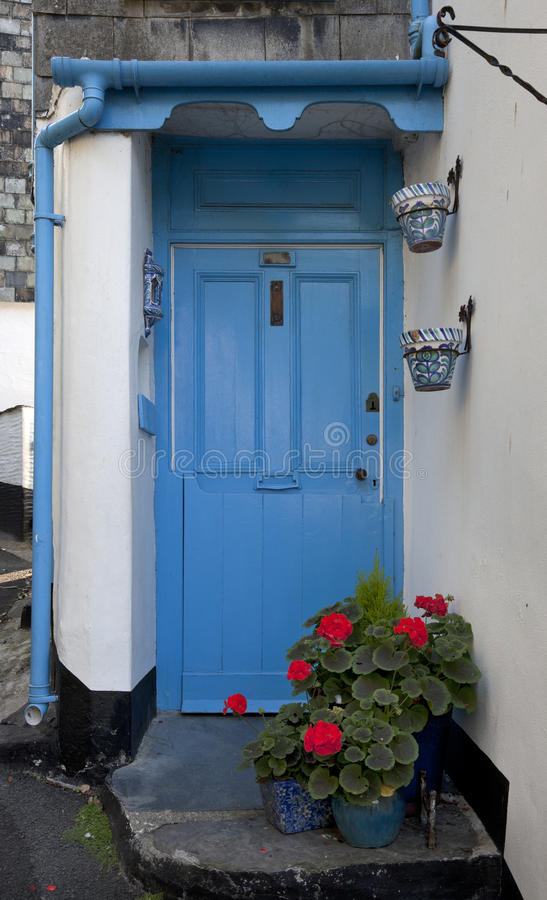 Download Blue Door With Geraniums Stock Image. Image Of Front   35594911