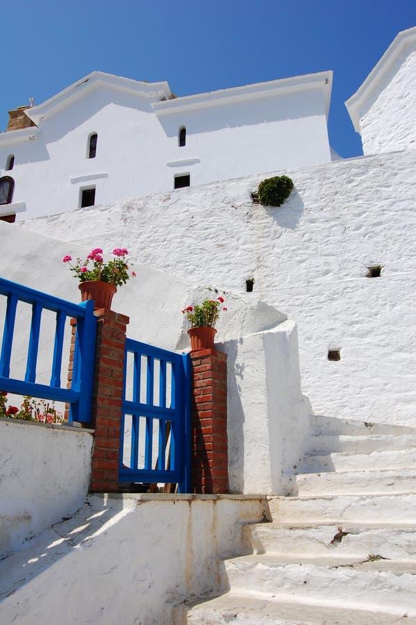 Blue door, Greece royalty free stock photography