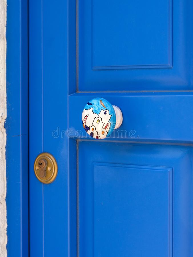 Blue door of Greek houses in the village on the island of Kefalonia in the Ionian Sea in Greece stock photos