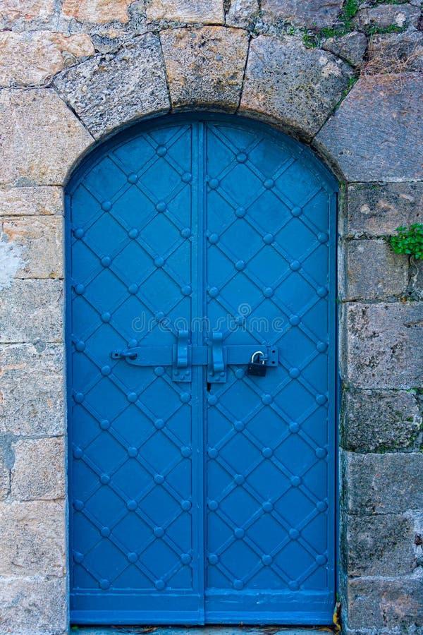 Blue door in Haifa royalty free stock photography
