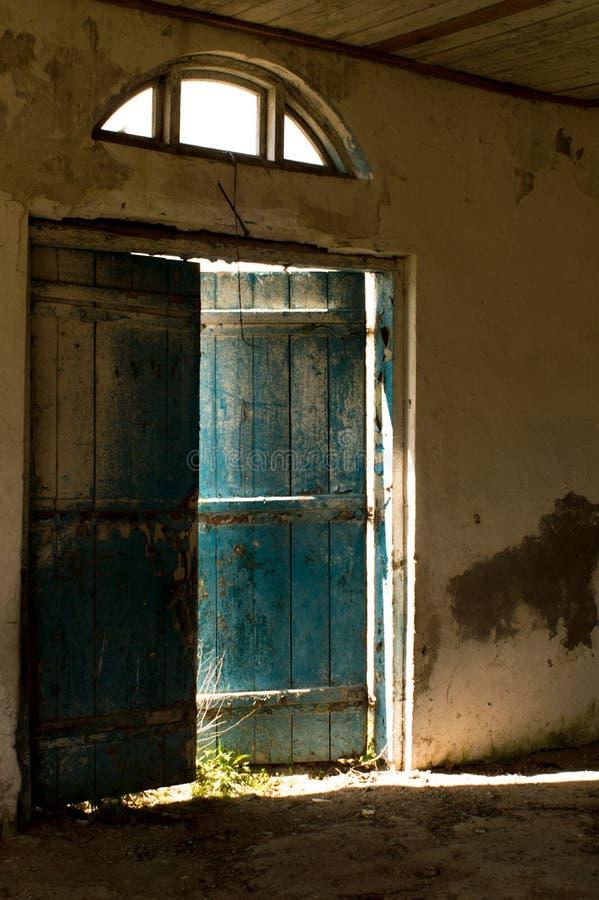 Blue door. stock photos