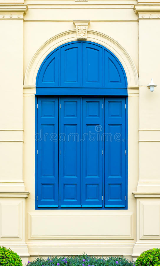 Blue door with roman style at Grand Palace Thailand stock image