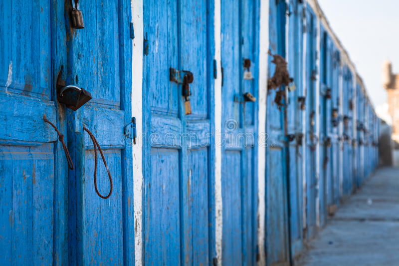 Blue doors in essaouira,Morocco.  royalty free stock images