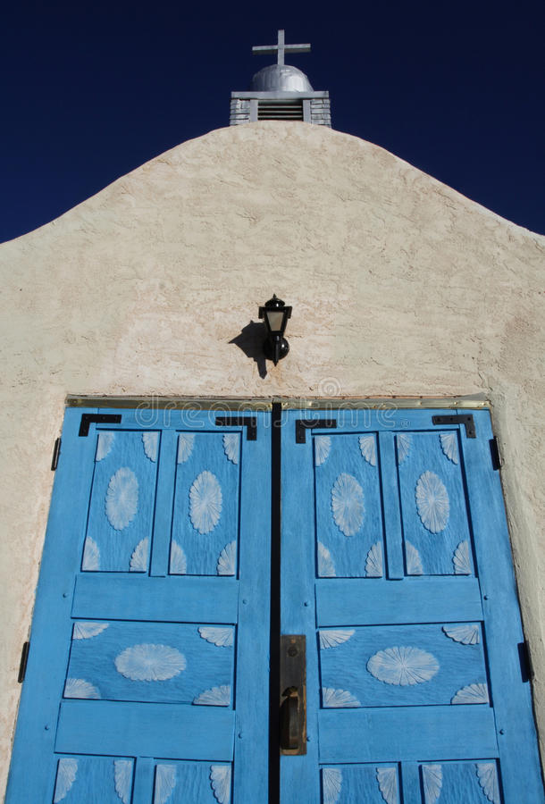 Blue Doors, San Ysidro Church stock photography