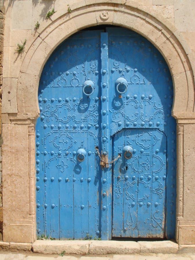Blue doors of Sidi Bou Said Tunisia stock images