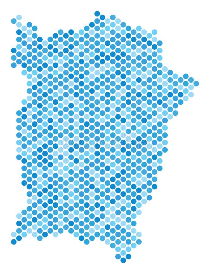 Blue Dot Penang Island Map. Blue dotted Penang Island map. Vector geographic map in blue color shades on a white background. Vector concept of Penang Island map royalty free illustration