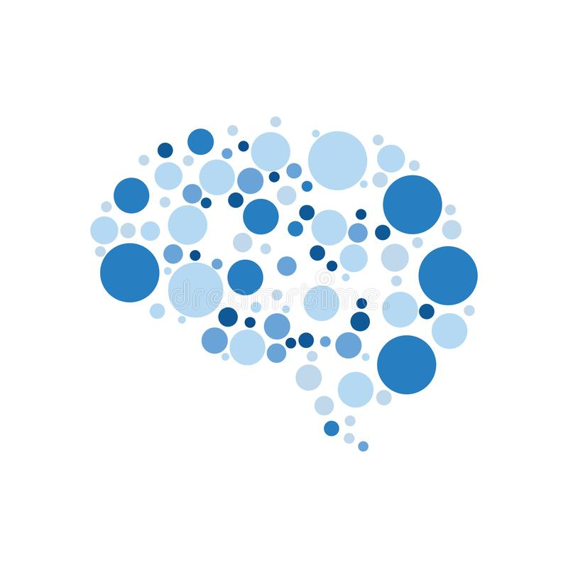 Blue Dots in Brain Form Neuron Health Education Technology.  royalty free illustration