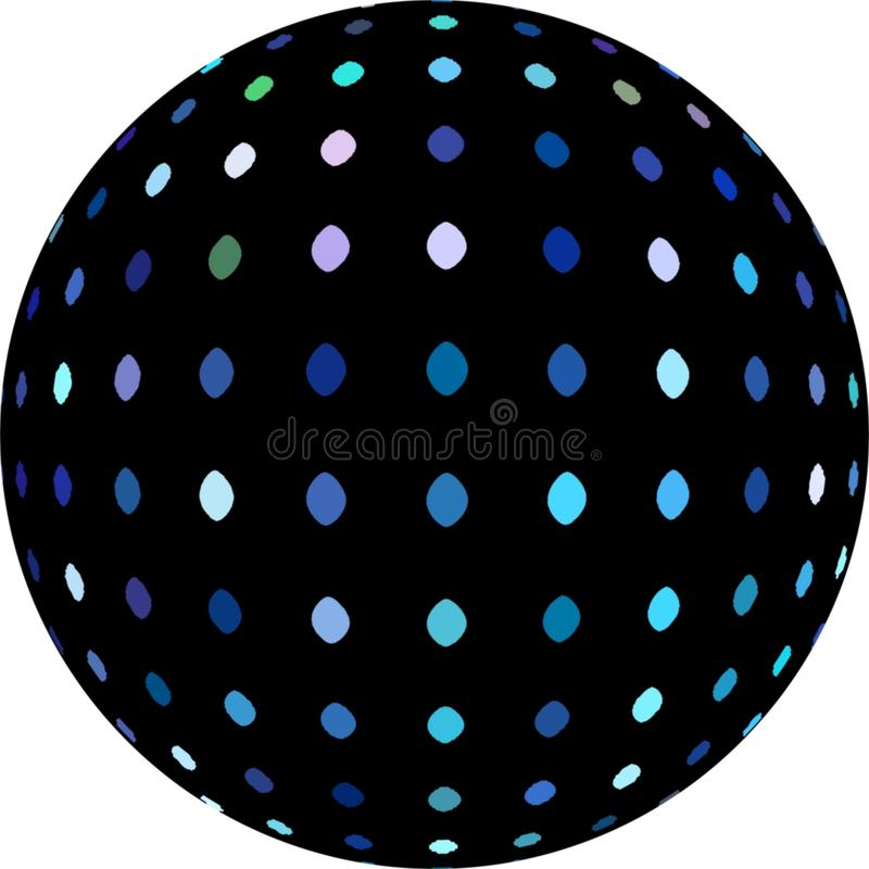 Blue dots mosaic on black sphere 3d. White background illustration. stock illustration