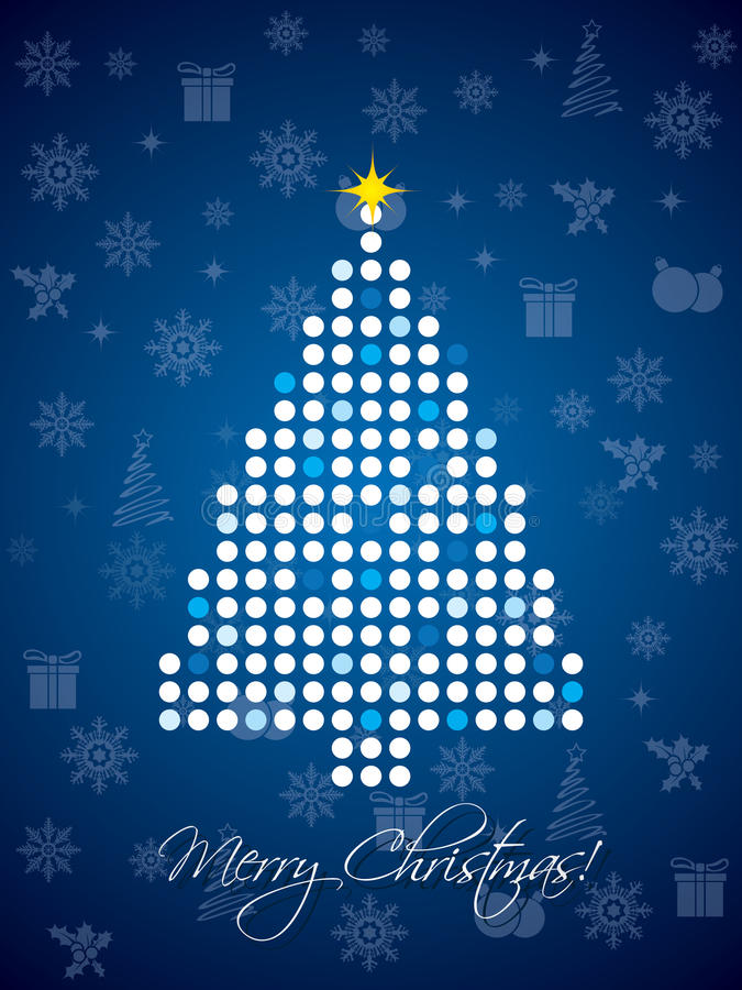 Blue dotted christmas card design