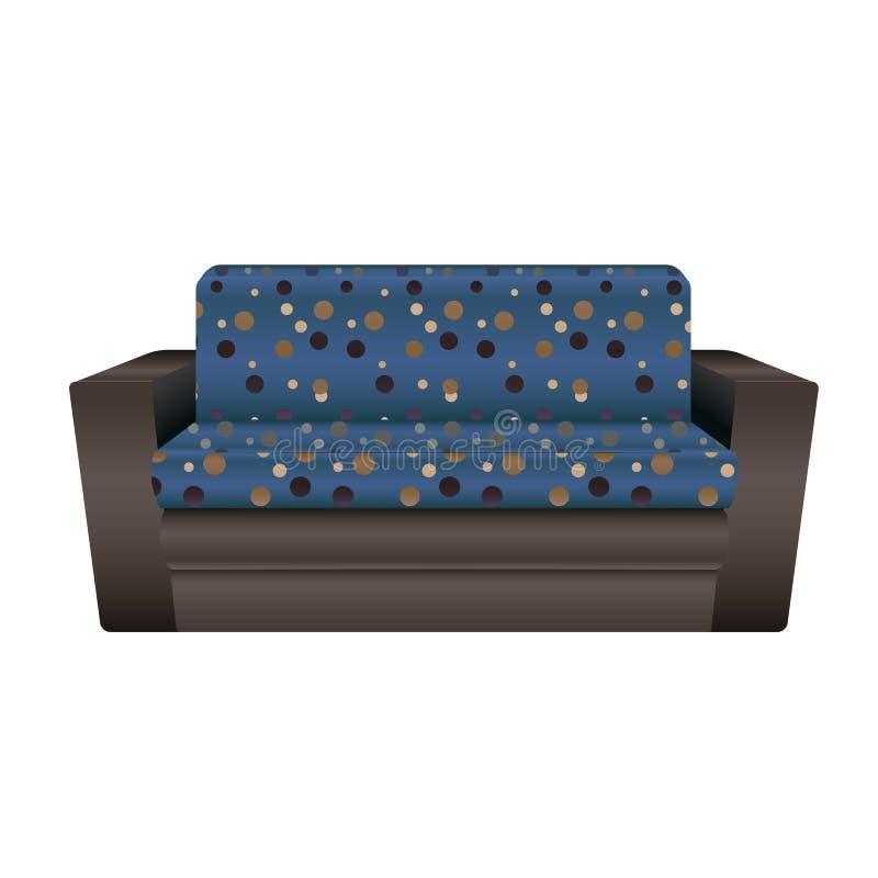 Blue dotted sofa icon, cartoon style stock illustration