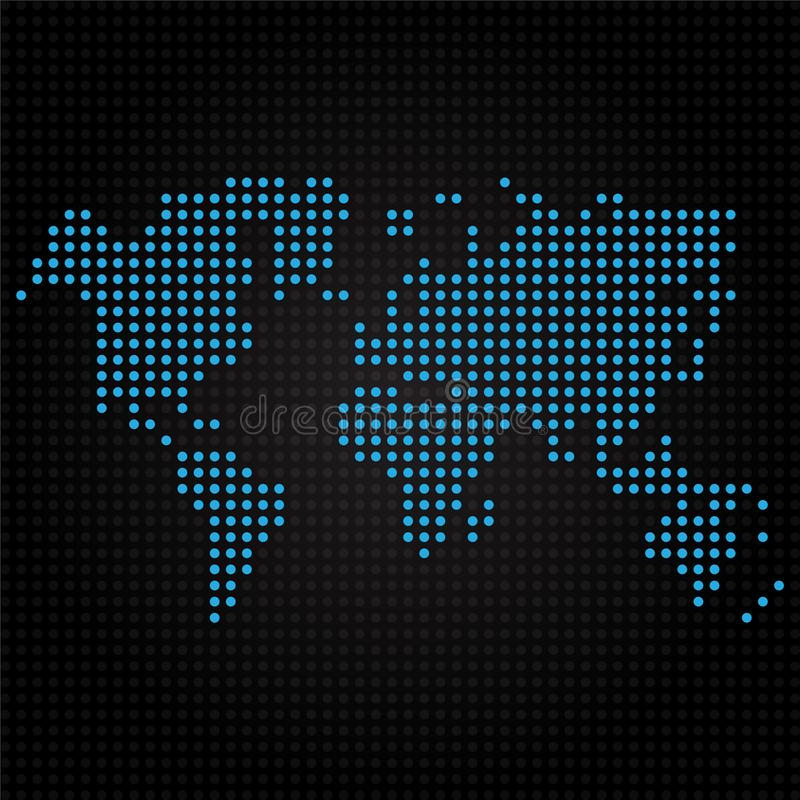 Blue dotted world map on black background stock vector download blue dotted world map on black background stock vector illustration of country vector gumiabroncs Image collections