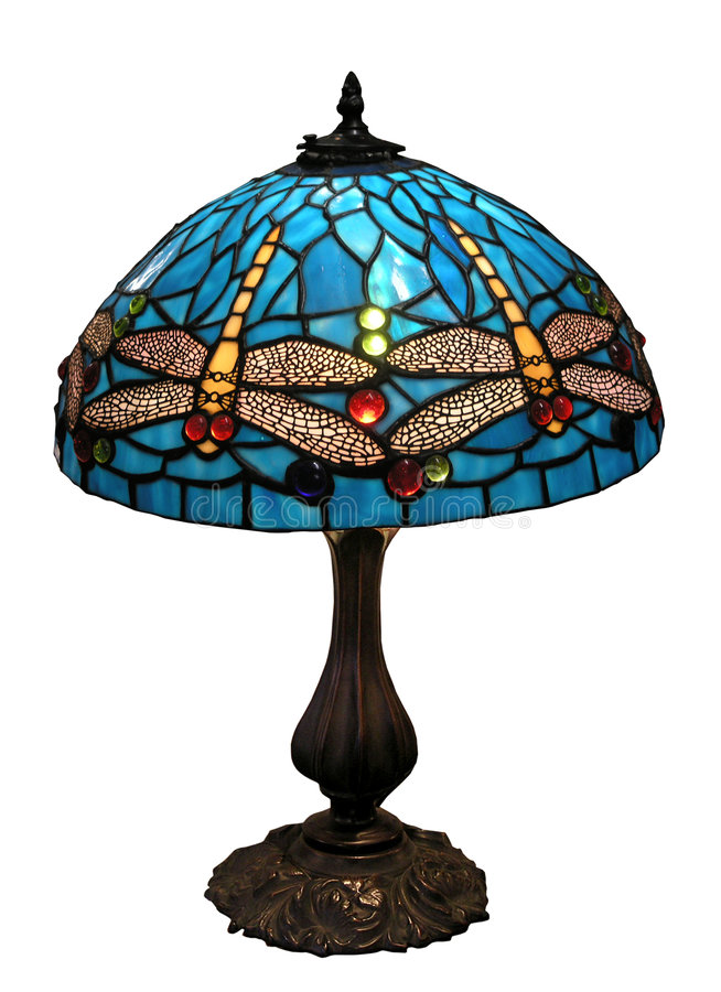 Blue Dragonfly Glass Lampshade. Isolated with clipping path stock photos